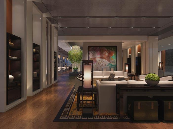 文化传播精品酒店进门区域装修设计案例效果图