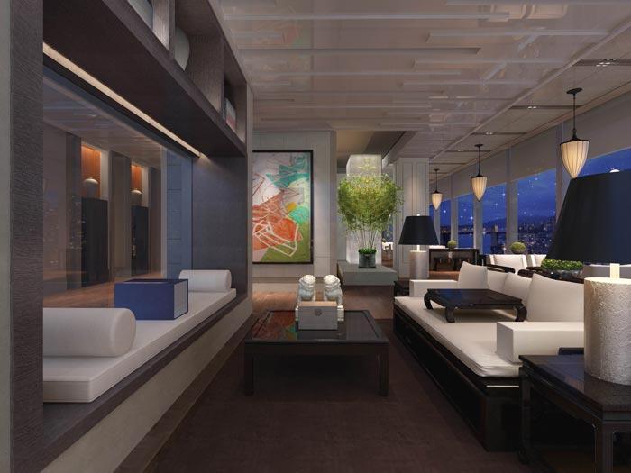 文化传播精品酒店阅读区域装修设计案例效果图