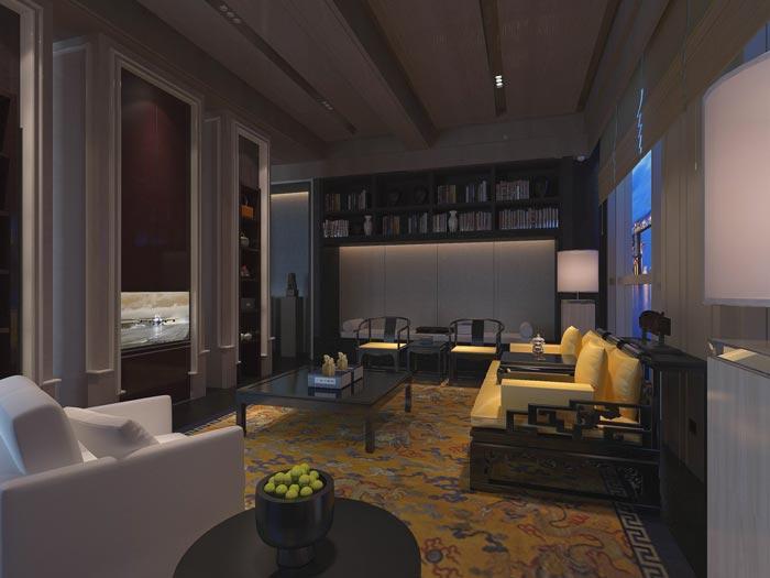 文化传播精品酒店客厅装修设计案例效果图