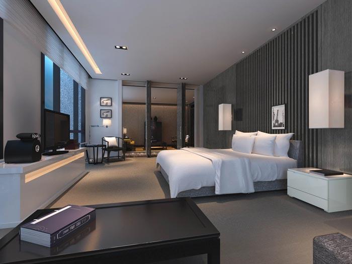文化传播精品酒店单人客房装修设计案例效果图