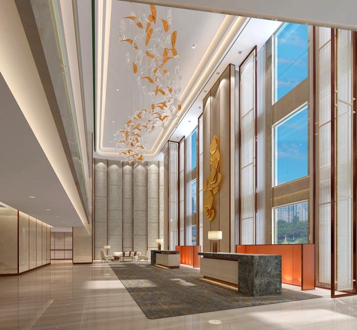 商务精品酒店前台装修设计案例效果图