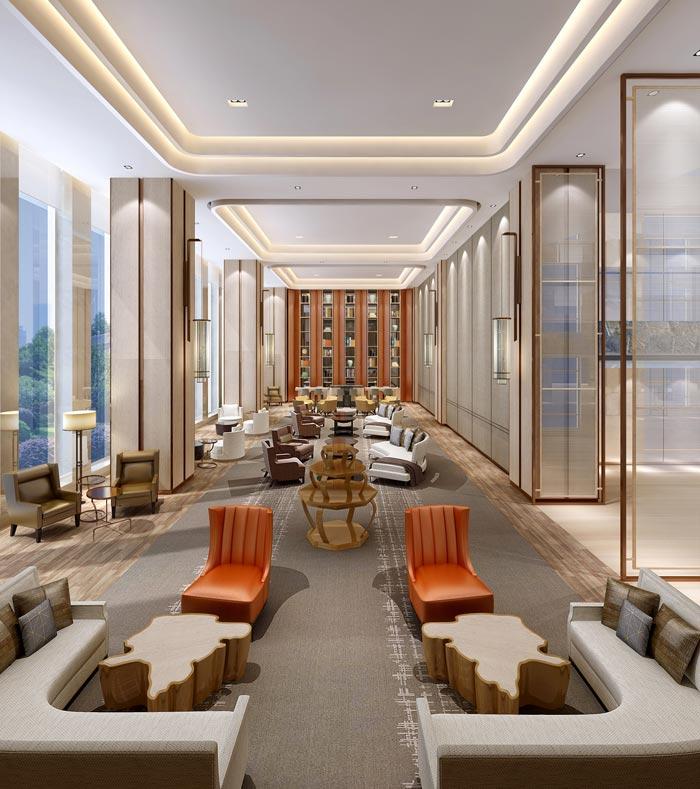 商务精品酒店交流区域装修设计案例效果图