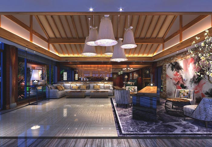度假精品酒店接待区域装修设计案例效果图