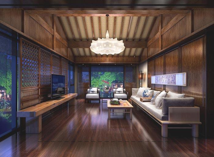 度假精品酒店套间客厅装修设计案例效果图