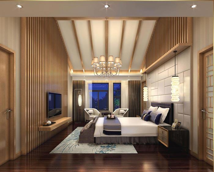 度假精品酒店套间卧室装修设计案例效果图