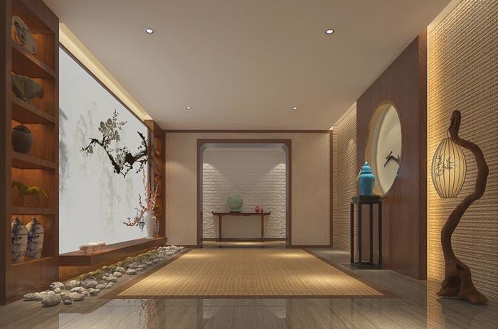新中式精品酒店前台装修设计案例效果图