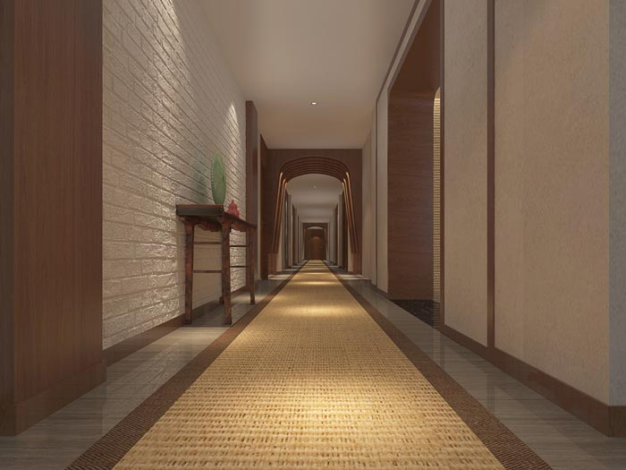新中式精品酒店过道装修设计案例效果图