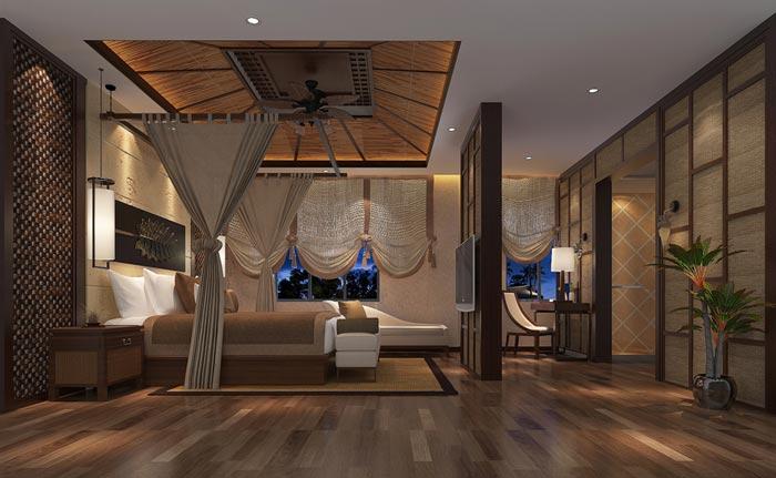 新中式精品酒店套房装修设计案例效果图