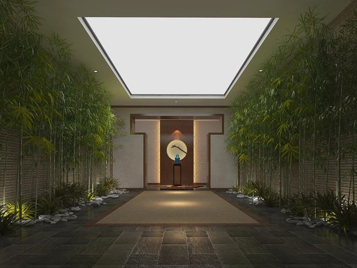 新中式精品酒店冥想区装修设计案例效果图