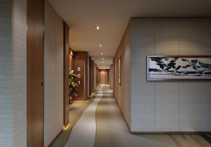 特色商务酒店过道装修设计案例效果图