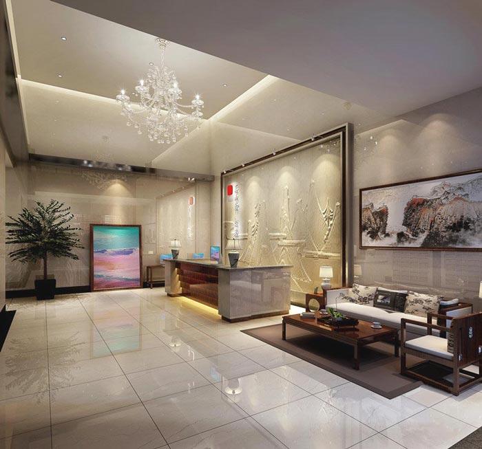 特色商务酒店前台装修设计案例效果图