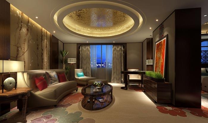 四星级商务酒店套房客厅装修设计案例效果图