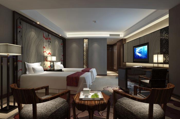 四星级商务酒店双人间装修设计案例效果图