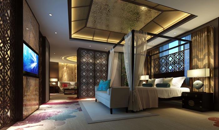 四星级商务酒店套房卧室装修设计案例效果图
