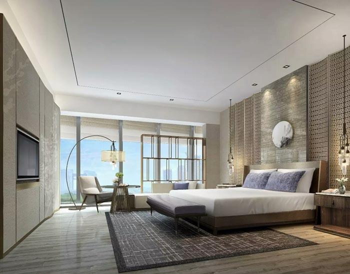 连锁商务酒店大床房装修设计案例效果图