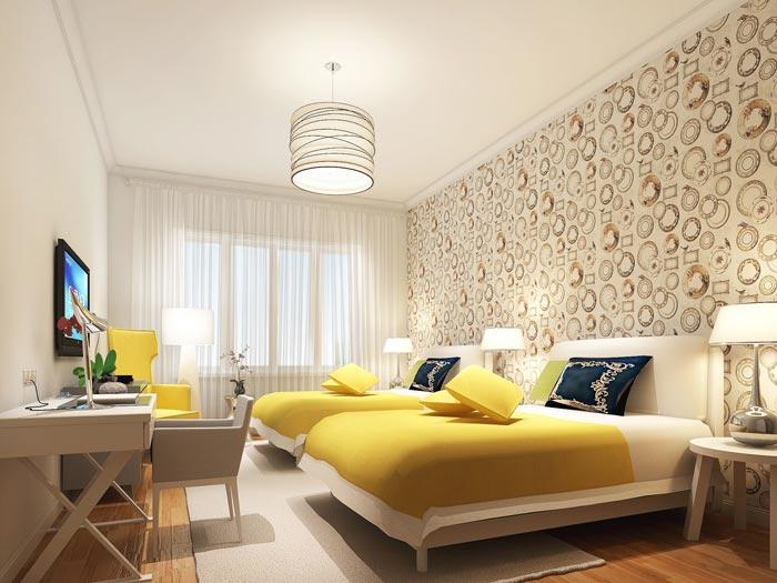 风情主题酒店普通客房装修设计案例效果图