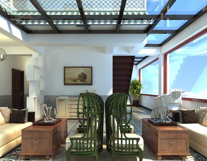风情主题酒店顶楼客房装修设计案例效果图