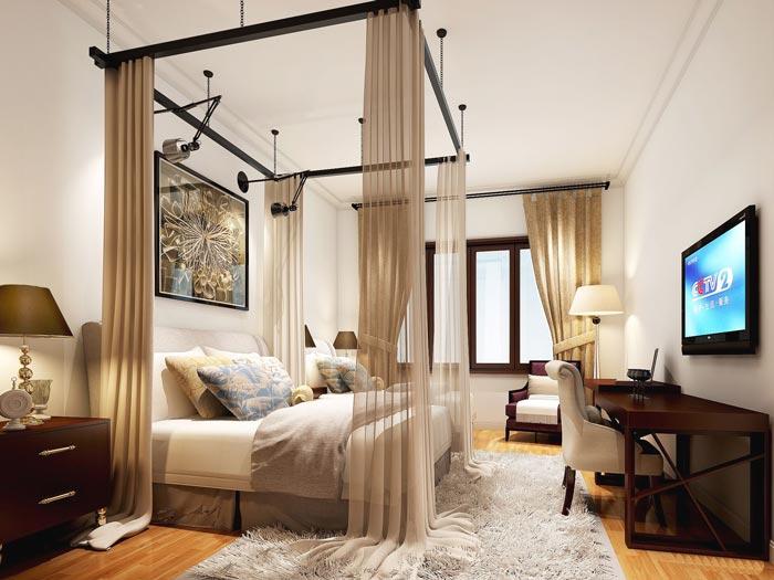 风情主题酒店双人间装修设计案例效果图