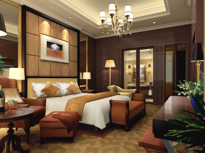 精品商务酒店套房卧室装修设计案例效果图