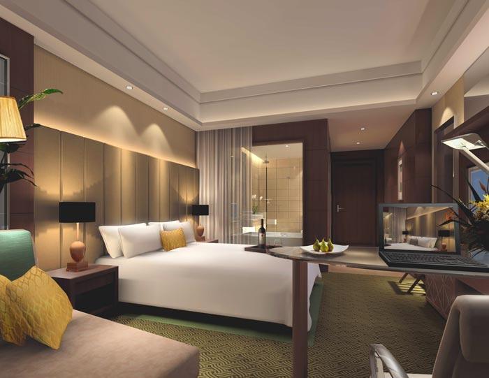 精品商务酒店商务大床房装修设计案例效果图