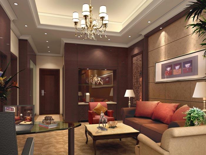 精品商务酒店套房客厅装修设计案例效果图