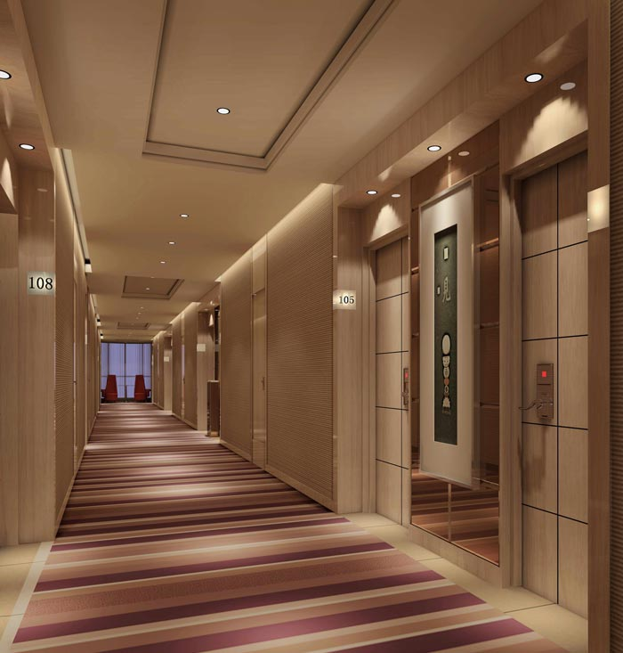 精品商务酒店走廊装修设计案例效果图