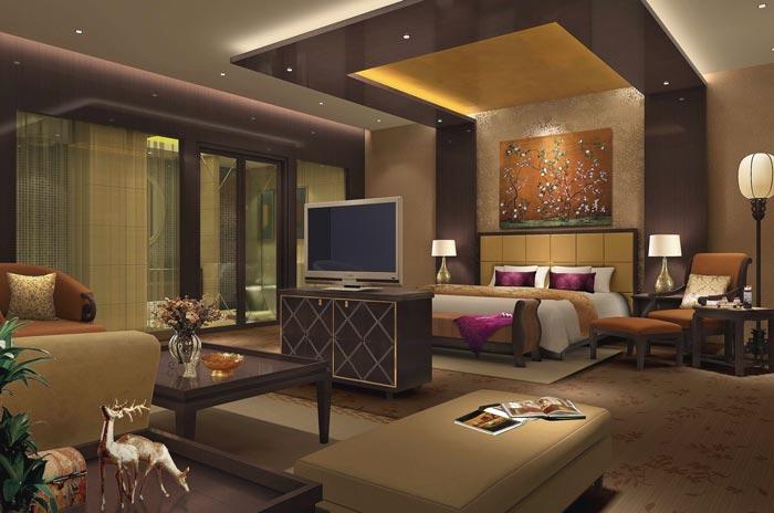 精品商务酒店总统套房卧室装修设计案例效果图
