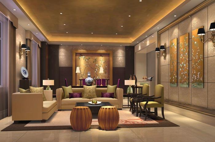 精品商务酒店总统套房客厅装修设计案例效果图