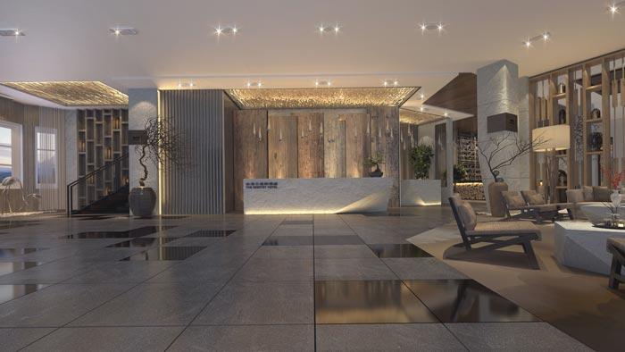 商务型酒店前台装修设计案例效果图