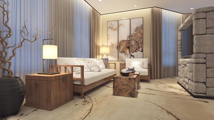 商务型酒店套间客厅装修设计案例效果图