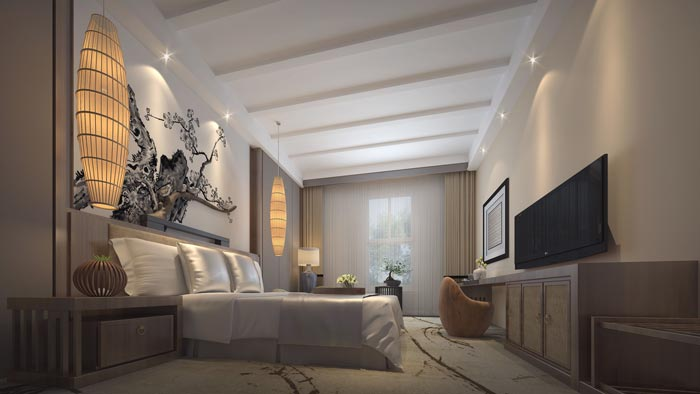 商务型酒店客房装修设计案例效果图