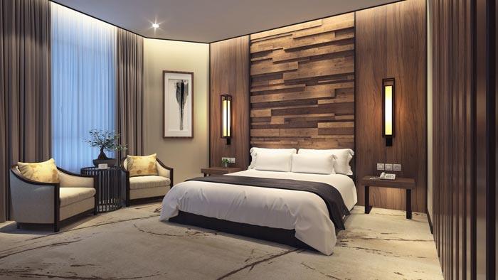 商务型酒店套间卧室装修设计案例效果图
